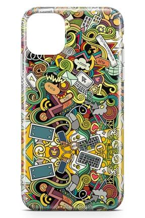 Lopard Apple Iphone 11 Kılıf Wireless Doodle Arka Kapak Koruma Desenli Full Koruyucu 1