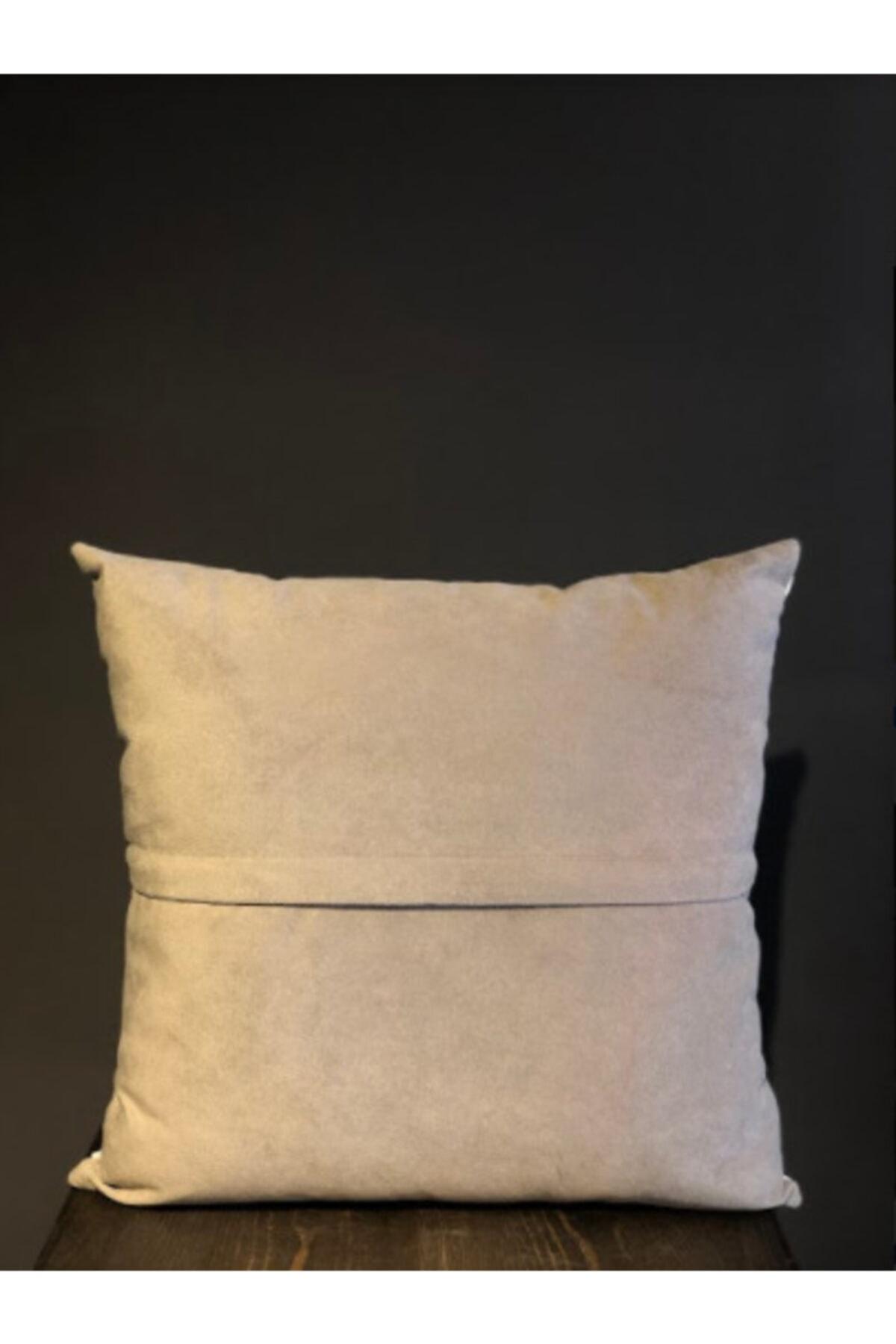 Household Sade Kırlent, Boncuk Elyaf Dolgulu Yıkanabilir Kılıflı Lüks Kırlent 40x40cm