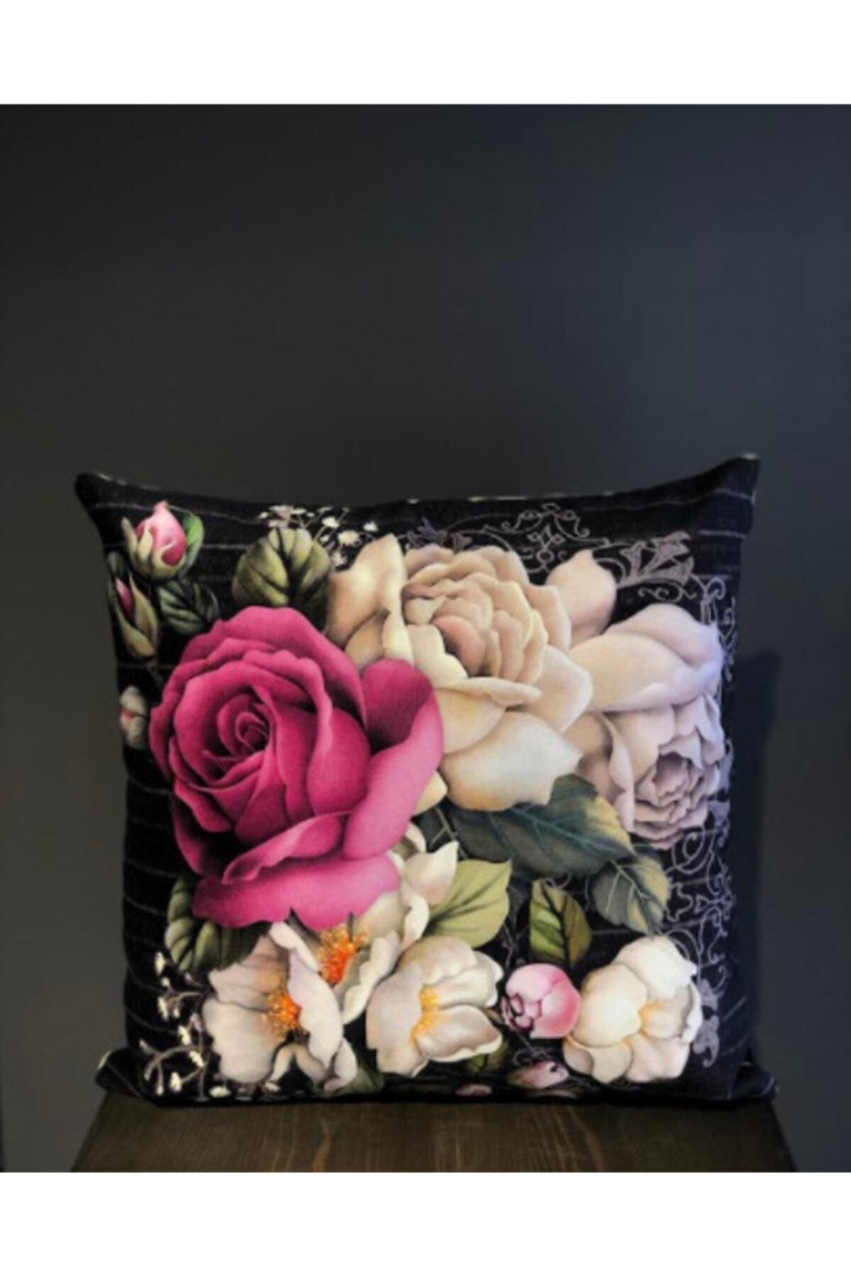 Household Çiçekli Kırlent, Boncuk Elyaf Dolgulu Yıkanabilir Kılıflı Lüks Kırlent 40x40cm