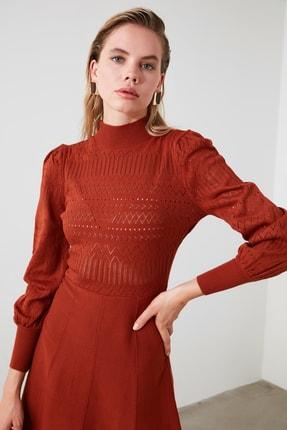TRENDYOLMİLLA Kiremit Örgü Detaylı Triko Elbise TWOAW21EL0036 1