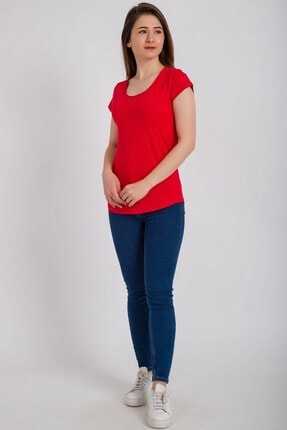 Kadın Modası Kadın Kırmızı Kesik Biyeli Bisiklet Yaka Tek Cepli T-shirt 1