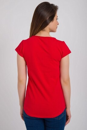 Kadın Modası Kadın Kırmızı Kesik Biyeli Bisiklet Yaka Tek Cepli T-shirt 3