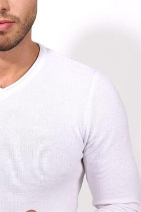 Tarz Cool Erkek Beyaz Dar Kesim Merserize Kazak 2