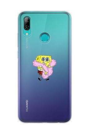 Mupity Pofuduk Sünger Bob Tasarımlı Huawei P Smart 2019 Şeffaf Telefon Kılıfı 0