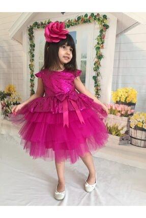 Buse&Eylül Bebe Kız Çocuk Fuşya Pul Payet  Elbise 0