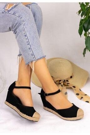 Güven RT Kadın Siyah Keten Dolgu Topuk Sandalet 0