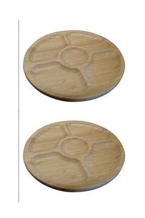 Paçi 2'li Bambu Yuvarlak 5 Bölmeli 20 Cm Sunum Servis Tabağı Kahvaltılık Çerezlik 0