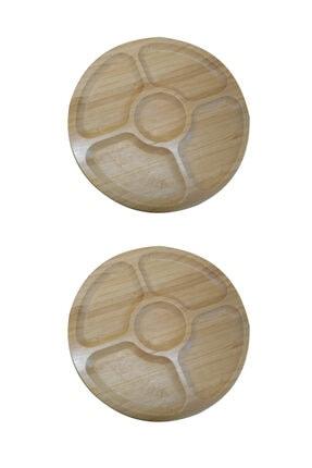 Paçi 2'li Bambu Yuvarlak 5 Bölmeli 20 Cm Sunum Servis Tabağı Kahvaltılık Çerezlik 1