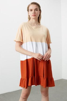 TRENDYOLMİLLA Bej  Elbise Renk Bloklu Örme Elbise TWOSS20EL1638 2