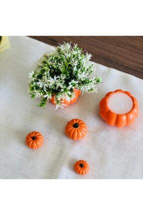 bifra Turuncu Balkabağı Saksıda Mum Ve Yapay Çiçek 5li Set 4