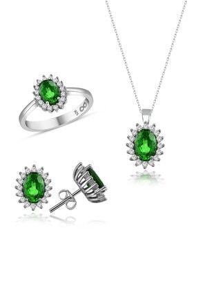 Yeşil Zümrüt Taşlı Takı Seti GCYZS50045