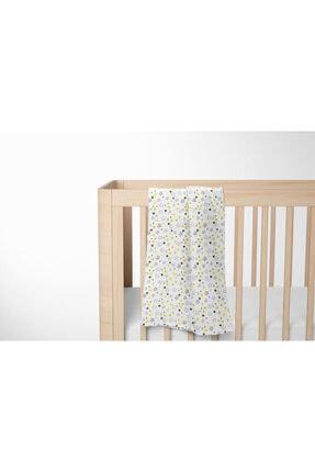 Lunanino Bebek Beyaz Sarı Yıldız Sarı Çok Amaçlı Müslin Battaniye 1