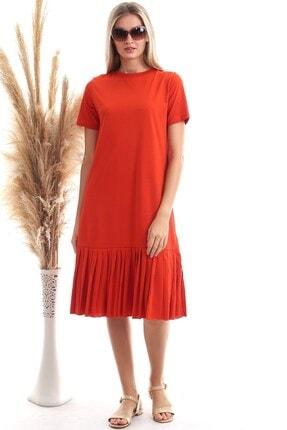 Cotton Mood Kadın Turuncu Süprem Eteği Pliseli Kısa Kol Elbise 9303044 0