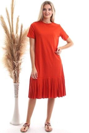 Cotton Mood Kadın Turuncu Süprem Eteği Pliseli Kısa Kol Elbise 9303044 2