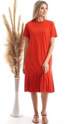 Cotton Mood Kadın Turuncu Süprem Eteği Pliseli Kısa Kol Elbise 9303044 3