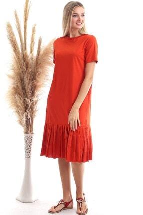 Cotton Mood Kadın Turuncu Süprem Eteği Pliseli Kısa Kol Elbise 9303044 4