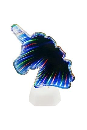 The Walking Fish Co Unıcorn Figürlü Usb Girişli ve Pilli Dekoratif Neon Mavi Gece Lambası 0