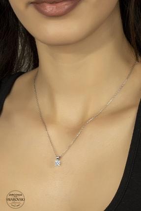 Kara Jewelry Swarovskı Taşlı 925 Ayar Gümüş Tektaş Kolye 0