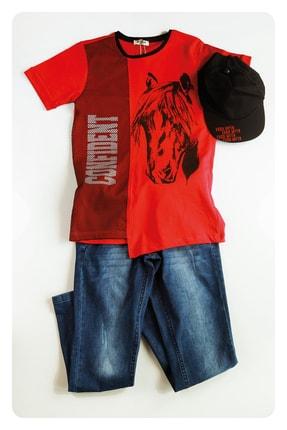 AE Group Erkek Çocuk Kırmızı Confident Baskılı Kot Pantolonlu T-shirt Takım 4 Parça 0