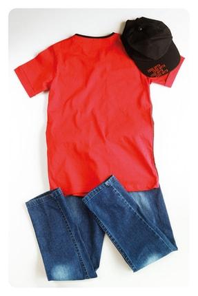 AE Group Erkek Çocuk Kırmızı Confident Baskılı Kot Pantolonlu T-shirt Takım 4 Parça 1