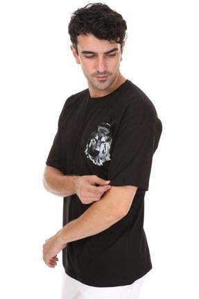 Millionaire Erkek Siyah Kurt Baskılı Oversize T-shirt 1