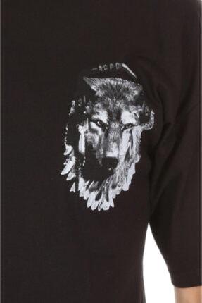 Millionaire Erkek Siyah Kurt Baskılı Oversize T-shirt 3