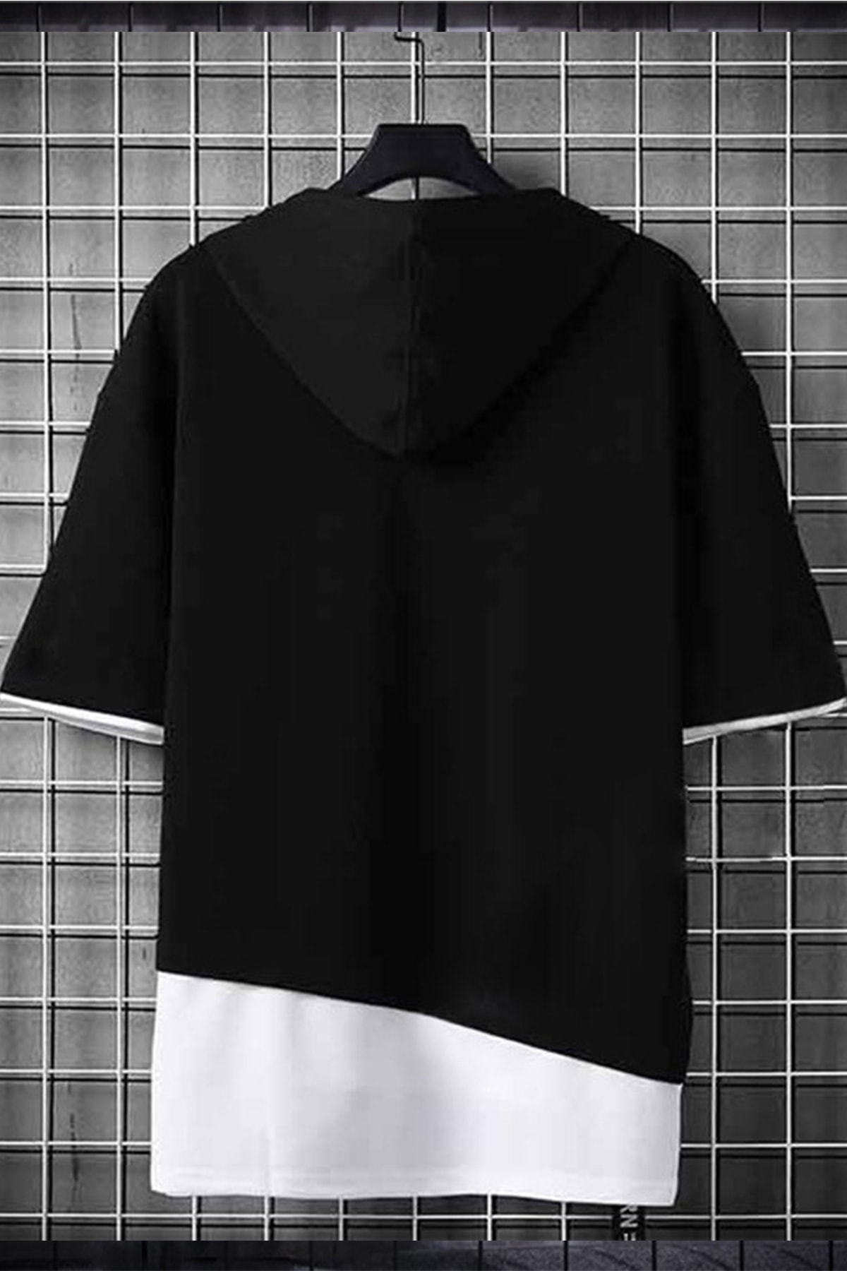 DE PLEIN Unisex Siyah Oversize Kapüşonlu % 100 Pamuk T-shirt
