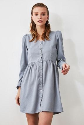TRENDYOLMİLLA Mavi Düğme Detaylı Kadife Elbise TOFAW19ST0191 1