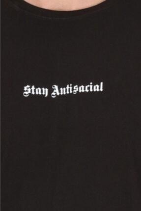 Millionaire Unisex  Siyah Stay Antisocial Oversize T-shirt 4