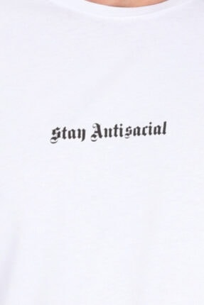 Millionaire Unisex  Beyaz Stay Antisocial Oversize T-shirt 3