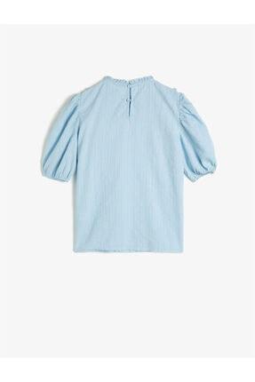 Koton Kız Çocuk Mavi Pamuklu Kısa Kollu Fırfırlı Gömlek 1