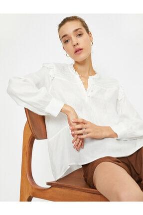 Koton Kadın Ekru Uzun Kollu Fırfırlı Bluz 0
