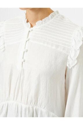 Koton Kadın Ekru Uzun Kollu Fırfırlı Bluz 4