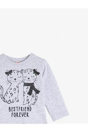 Koton Kız Bebek Gri Bisiklet Yaka Uzun Kollu T-Shirt 2