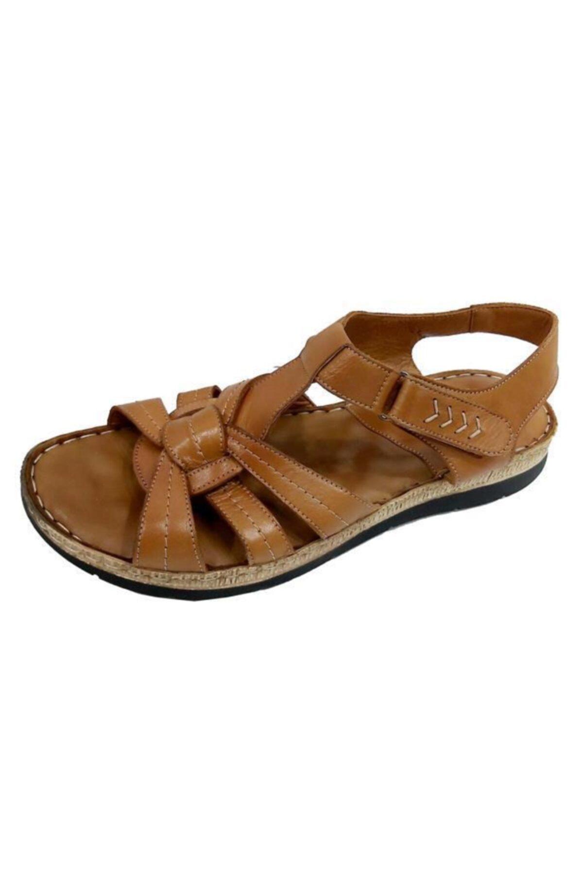 ELLANOR Kadın Kahverengi 050 Hakiki Deri Ortopetik Sandalet