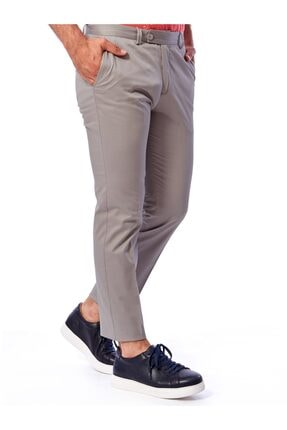 Dufy Gri Büyük Beden Düz Pamuklu Saten Erkek Pantolon - Battal 0