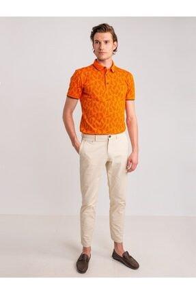 Dufy Erkek Turuncu Desenli Yumuşak Yaka Pamuklu Polo Yaka T-Shirt 0