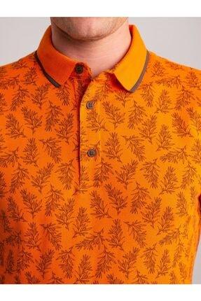 Dufy Erkek Turuncu Desenli Yumuşak Yaka Pamuklu Polo Yaka T-Shirt 1