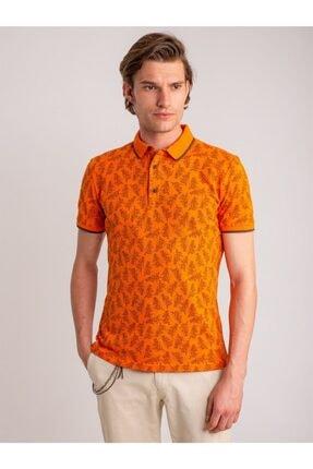 Dufy Erkek Turuncu Desenli Yumuşak Yaka Pamuklu Polo Yaka T-Shirt 3