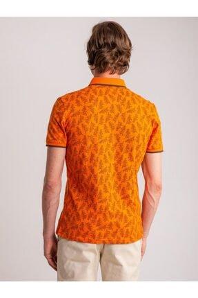 Dufy Erkek Turuncu Desenli Yumuşak Yaka Pamuklu Polo Yaka T-Shirt 4