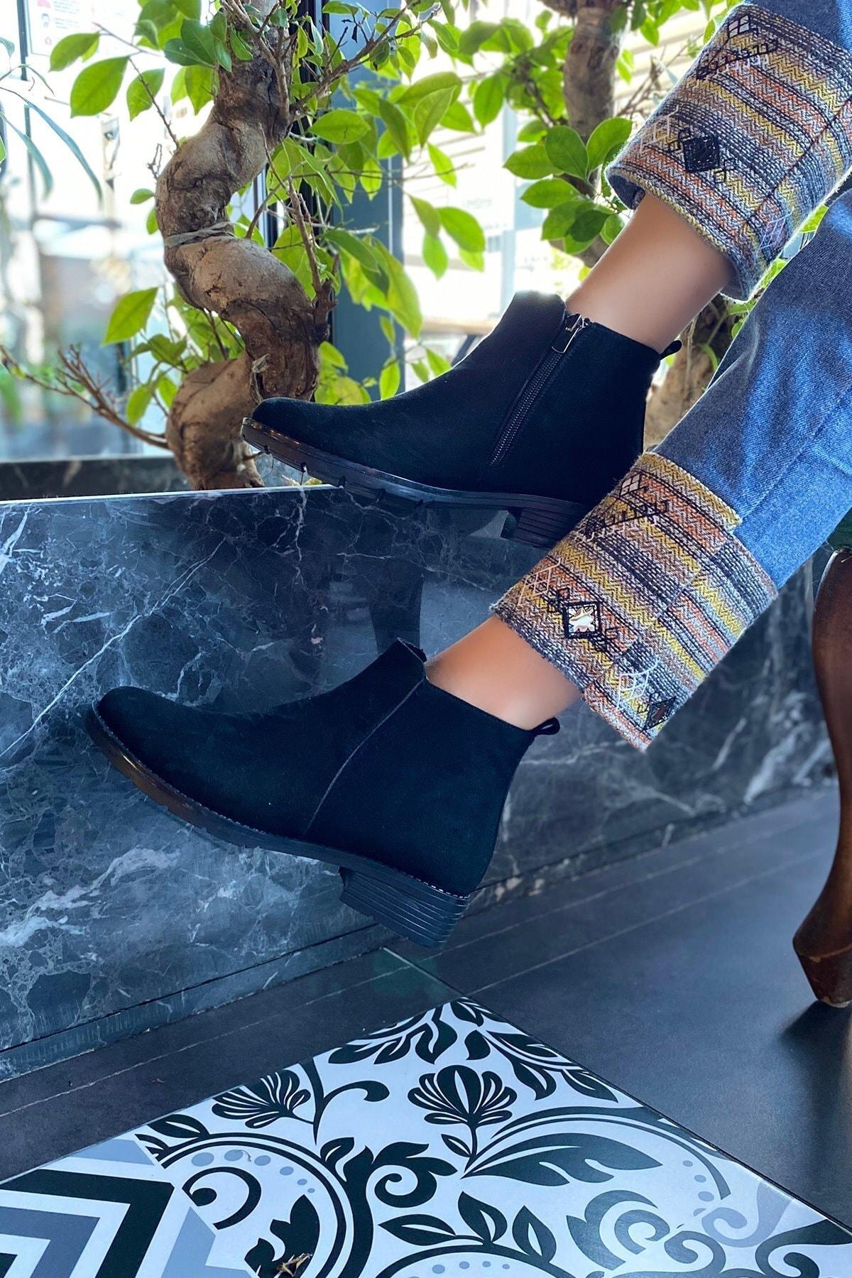 Platin Topuklar Kadın Siyah Süet Bot