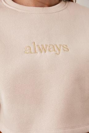 TRENDYOLMİLLA Bej Nakışlı ve Şardonlu Crop Örme Sweatshirt TWOAW20SW0145 1