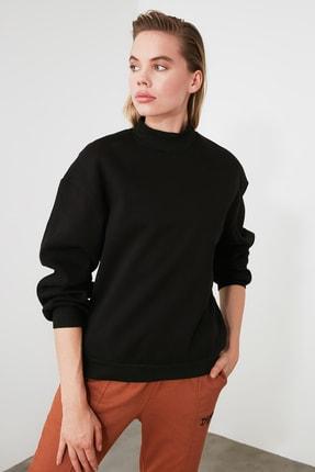 TRENDYOLMİLLA Siyah Dik Yaka Loose Örme Sweatshirt TWOAW20SW0584 1