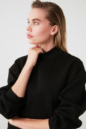 TRENDYOLMİLLA Siyah Dik Yaka Loose Örme Sweatshirt TWOAW20SW0584 2