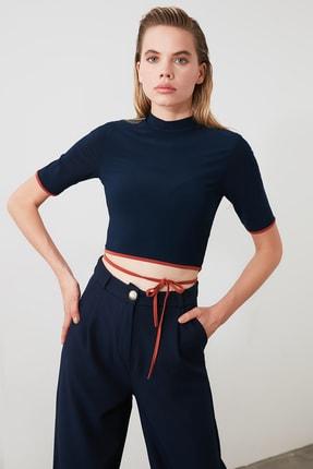 TRENDYOLMİLLA Lacivert Bağlama Detaylı Örme Bluz TWOSS20BZ0156 3
