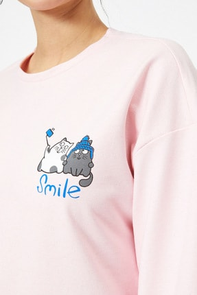 Koton Pembe Kadın Sweatshirt 4