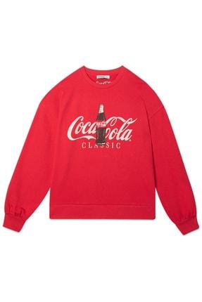 Stradivarius Kadın Kırmızı Coca-Cola Baskılı Sweatshirt 06614699 4