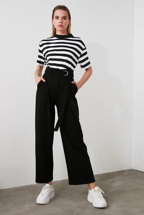 TRENDYOLMİLLA Siyah Kemerli Dökümlü Pileli Örme Pantolon TWOAW20PL0218 1