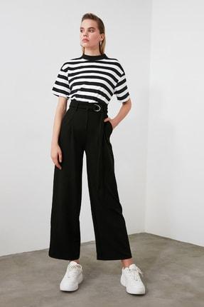 TRENDYOLMİLLA Siyah Kemerli Dökümlü Pileli Örme Pantolon TWOAW20PL0218 3