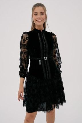 Kayra Kadın Siyah Hakim Yaka Dantelli Elbise  B20 23024 0